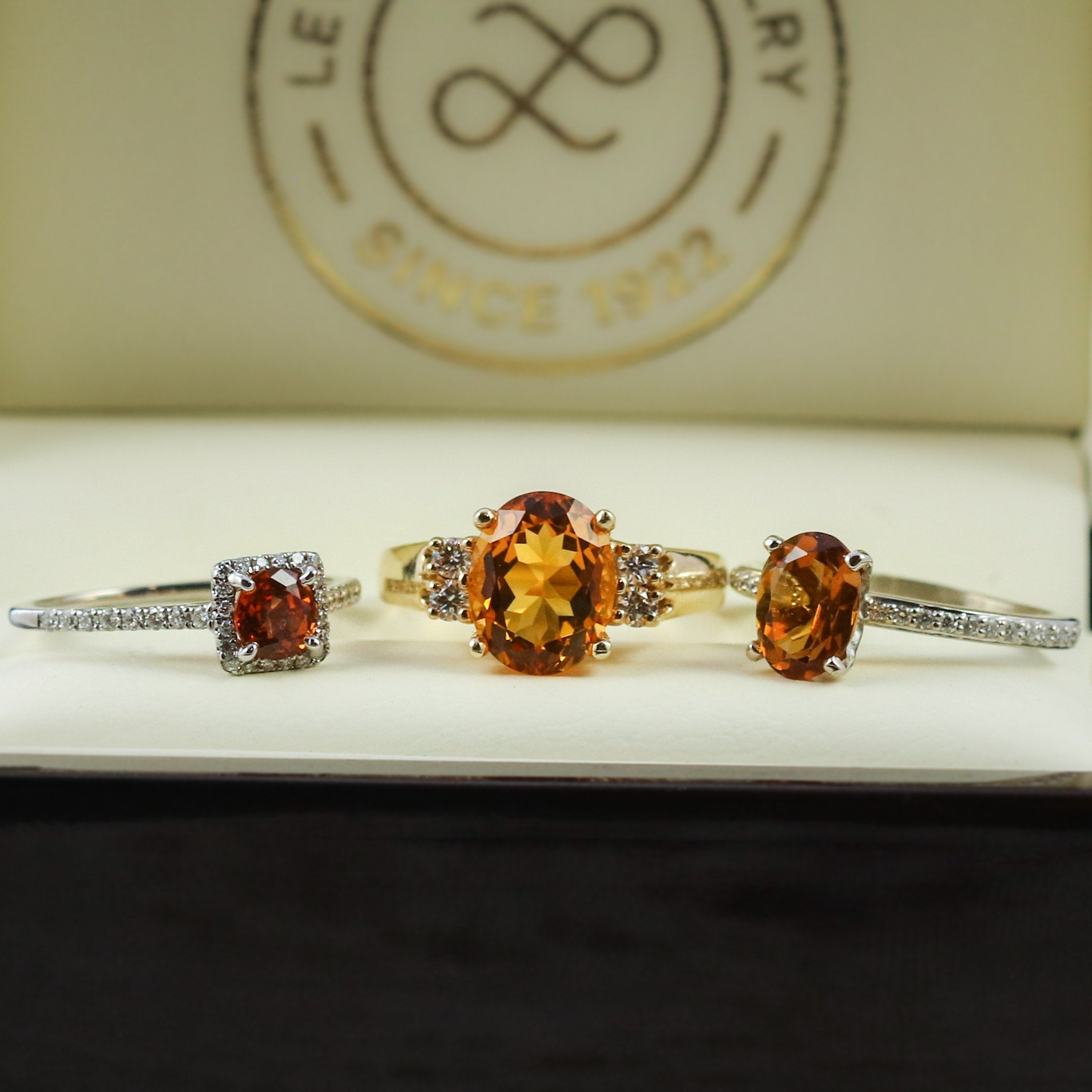 halo citrine rings