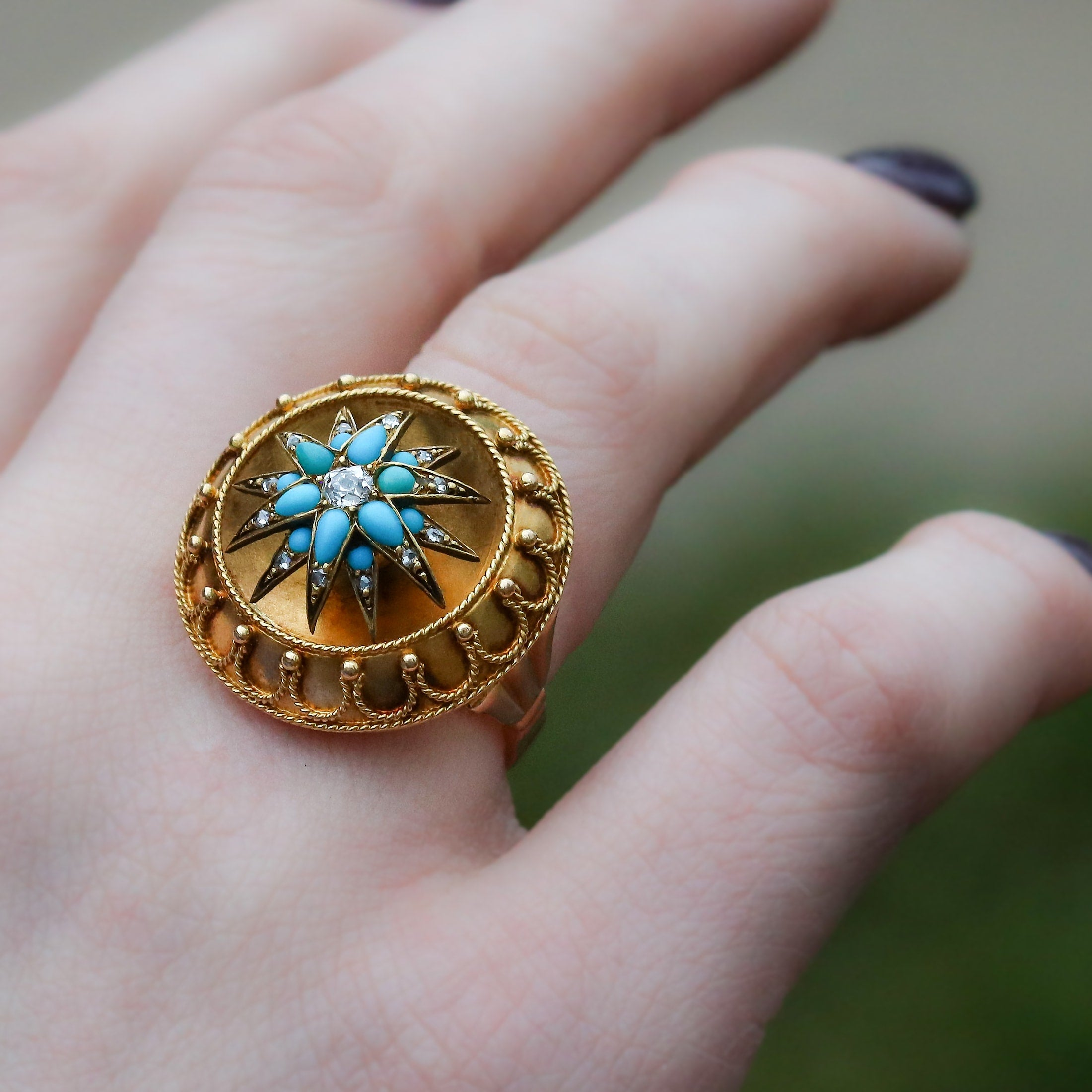 victorian gold and diamond turquoise ring
