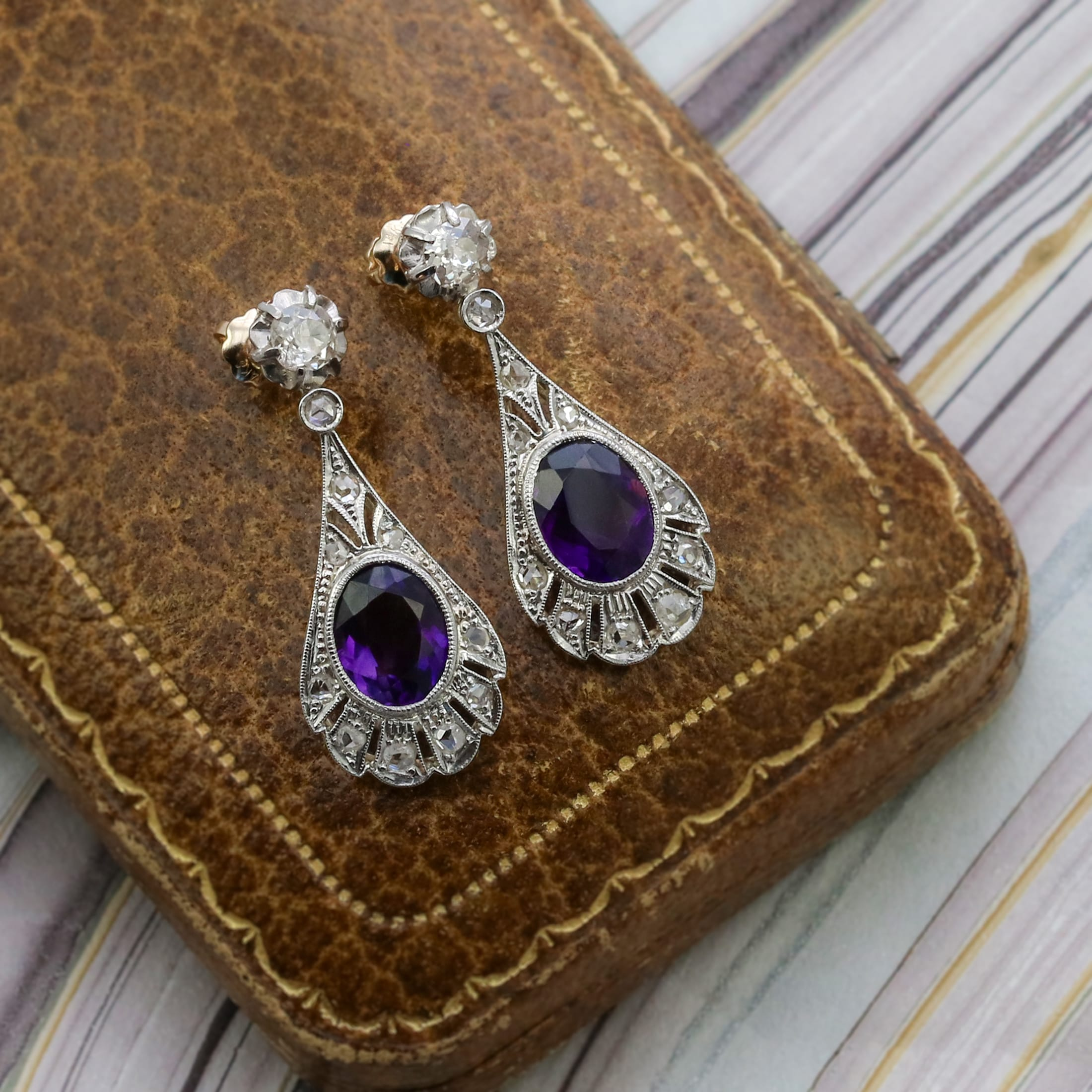 Edwardian diamond and amethyst drop earrings.