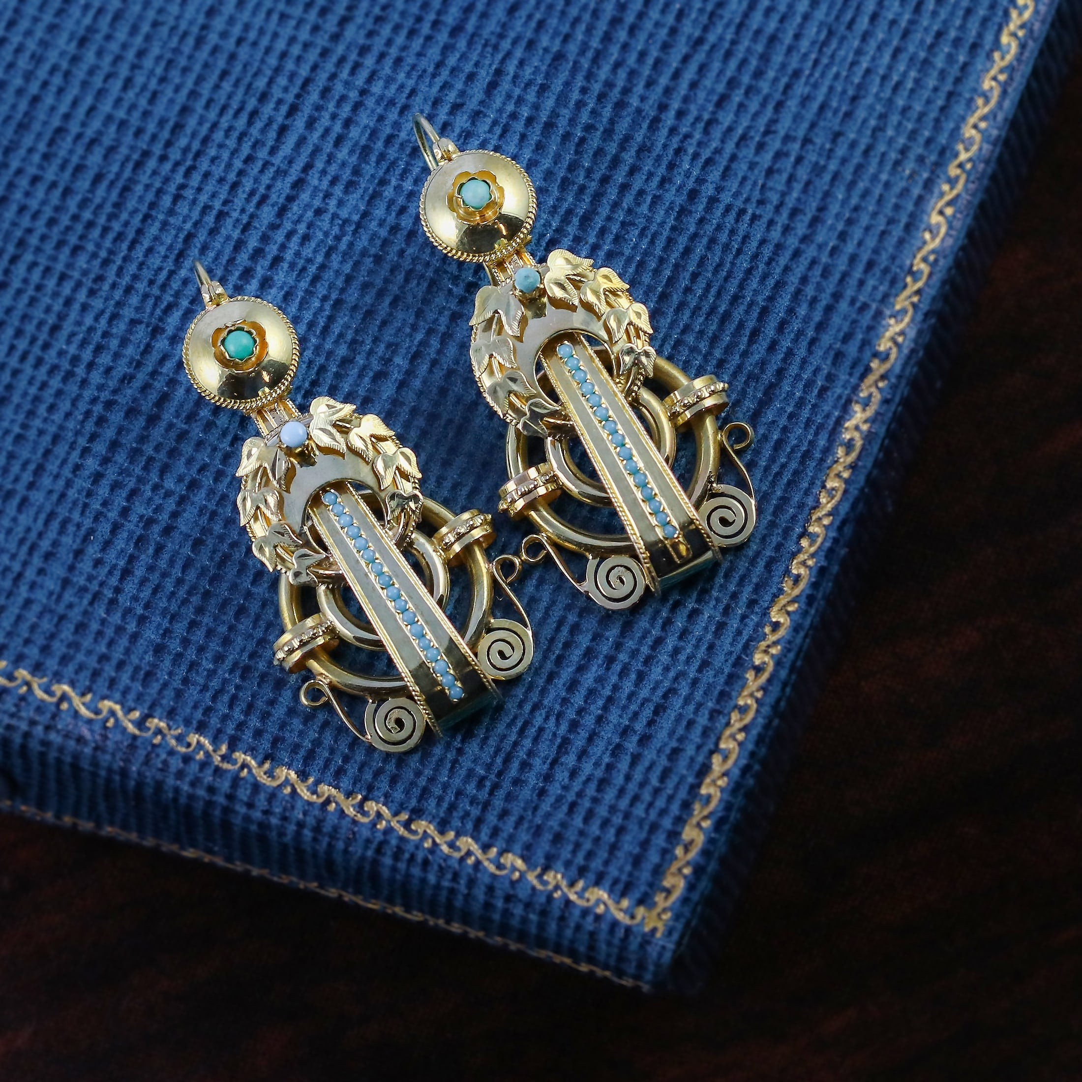 victorian yellow gold turquoise earrings