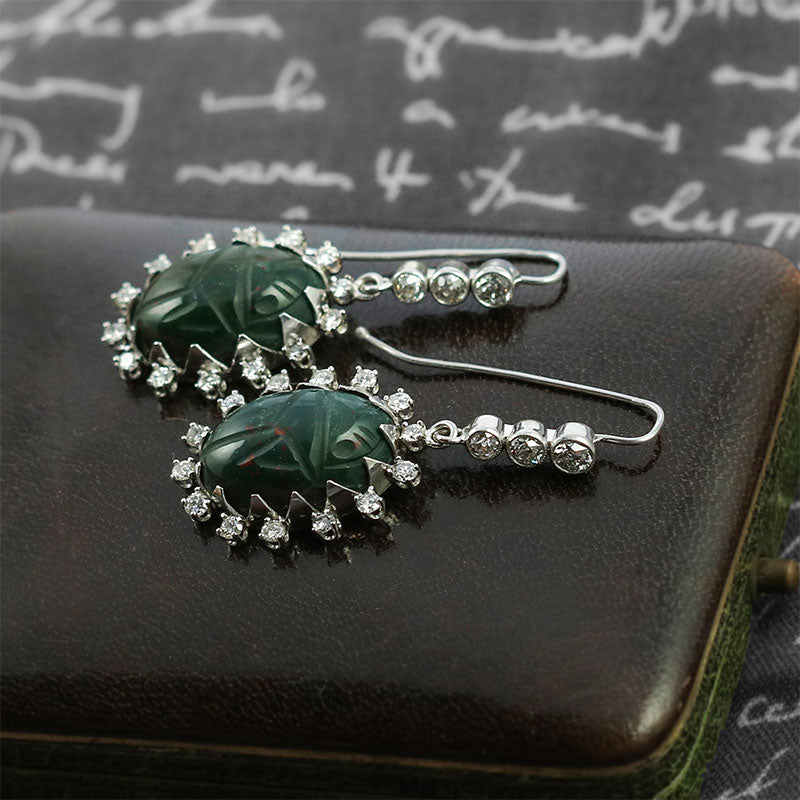 bloostone carved scarab and diamond earrings