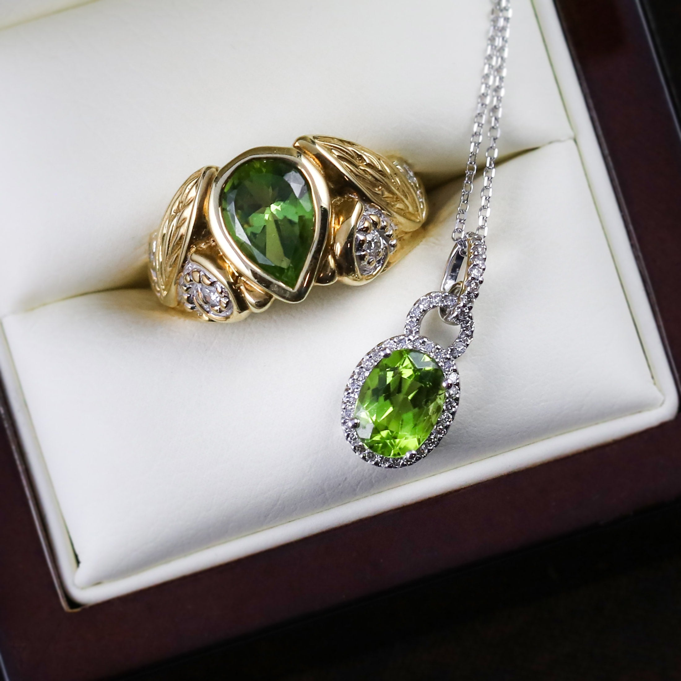 peridot ring and pendant