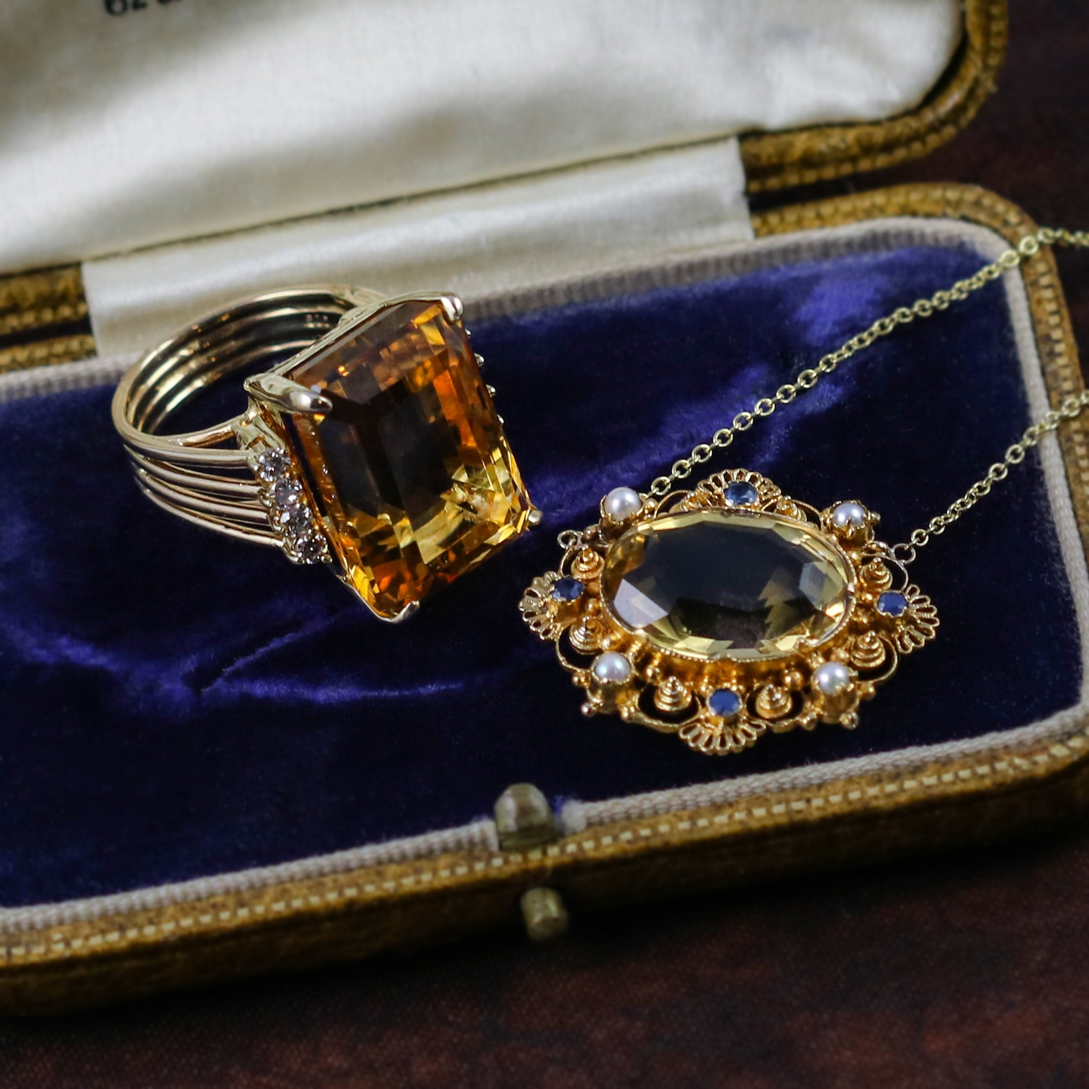 vintage citrine necklace and ring