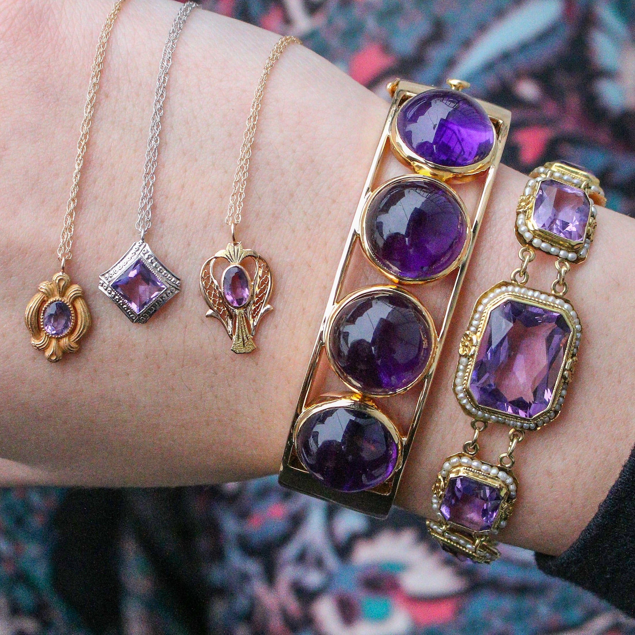 Amethyst bracelets and pendants