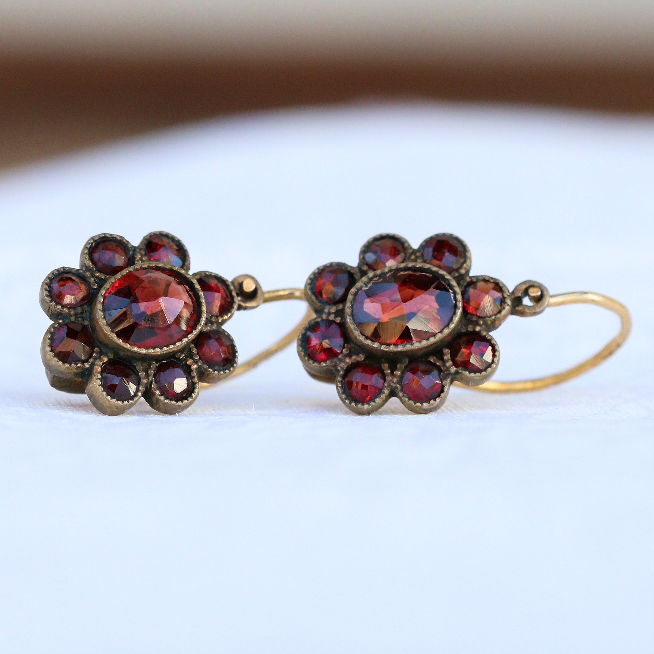 Victorian gold filled garnet earrings.