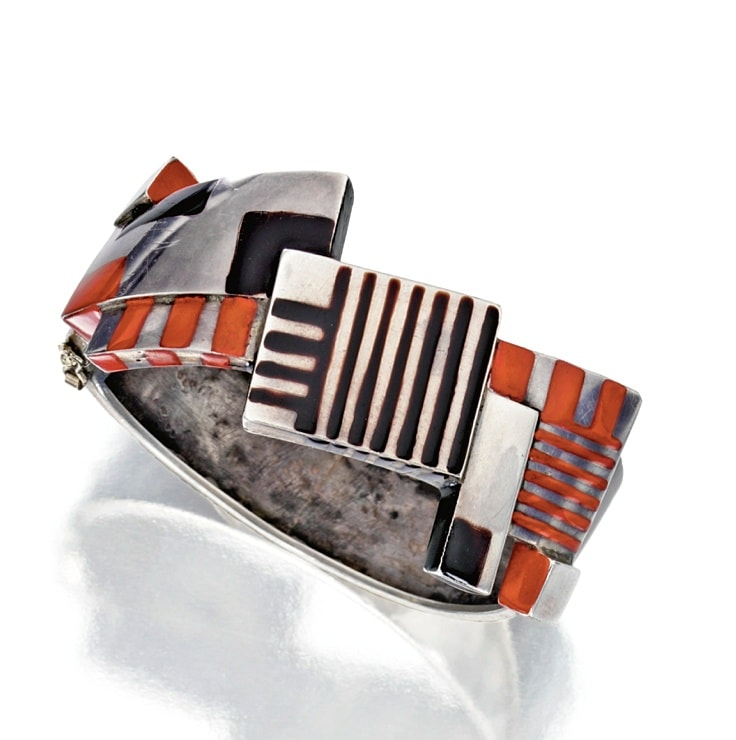 A Silver and Lacquer bangle bracelet, created by Jean Dunand, circa 1924