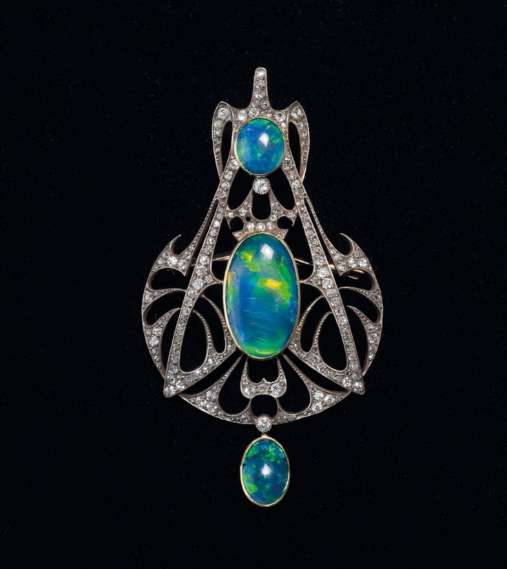 Opal and diamond pendant created by Henri Vever