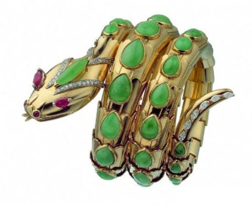 SBulgari yellow gold, emerald, ruby and diamond snake motif