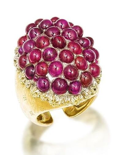 A yellow gold and ruby ring made by Buccellati, circa 1960