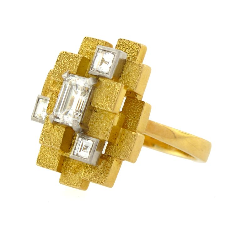 Andrew Grima 18k yellow gold and diamond ring, circa 1972