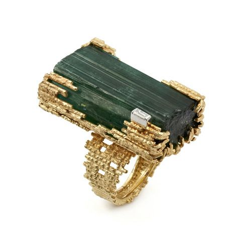 Andrew Grima tourmaline and diamond ring, circa 1969