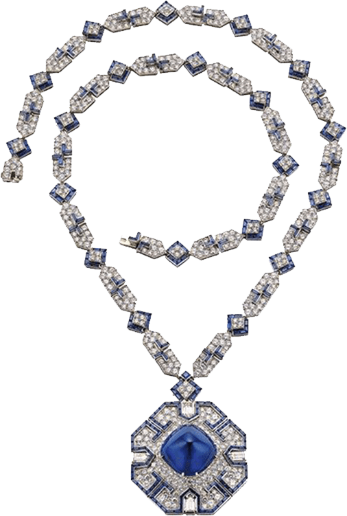 Bulgari platinum, diamond and sapphire necklace