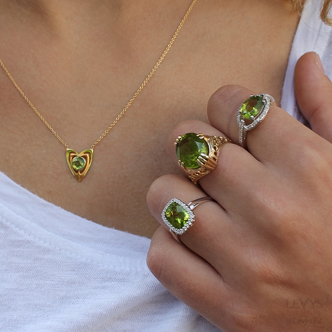 peridot necklaces and rings