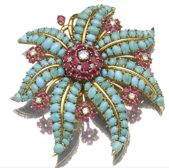 A turquoise, ruby and diamond sea star brooch
