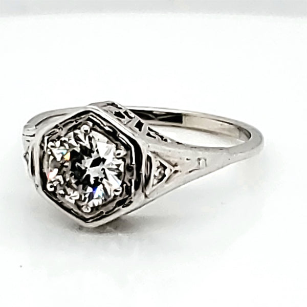 Art Deco 18k white gold filigree  .61 carat transitional cut diamond engagement ring