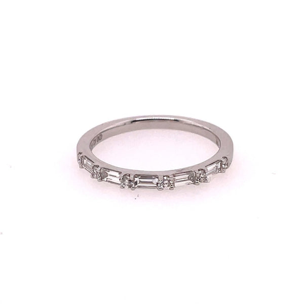 White Gold Alternating Diamond Stackable Wedding Band