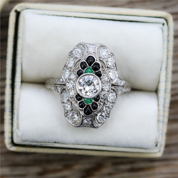 Art Deco Platinum Diamond Emerald and Onyx Filligree Ring