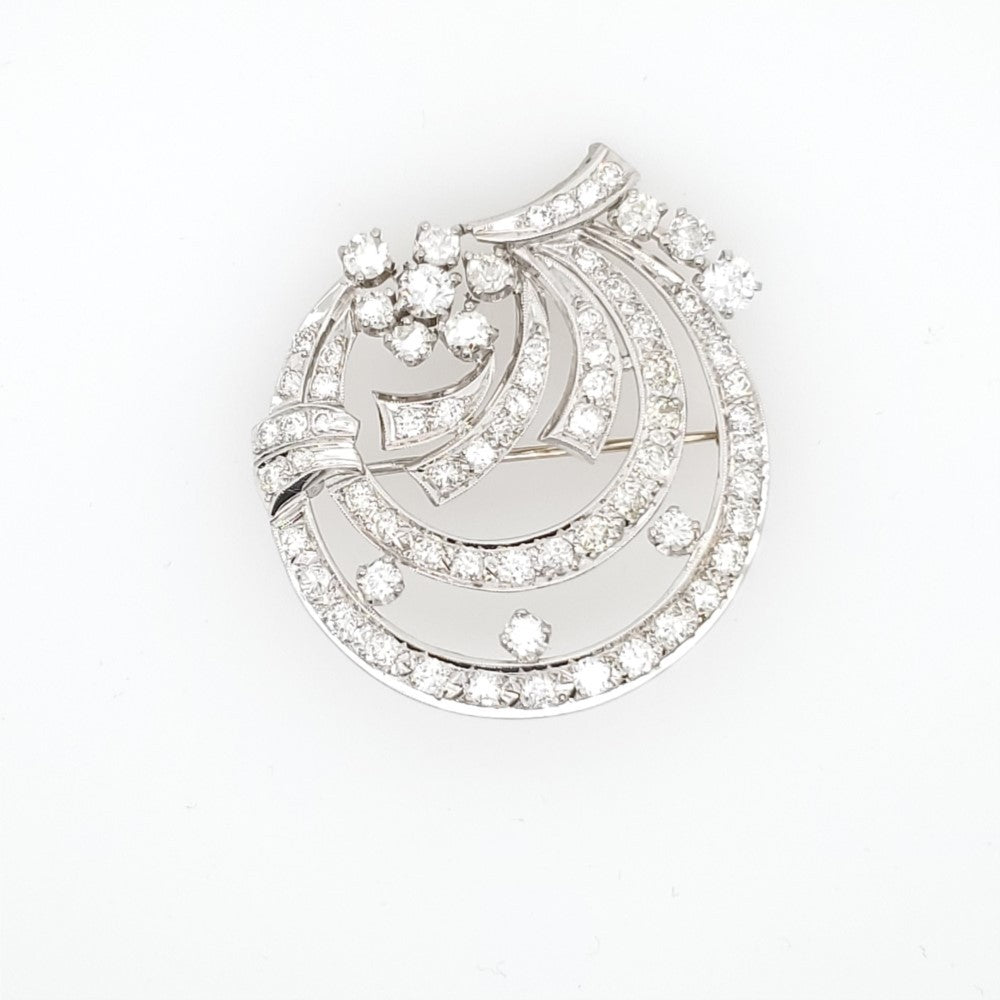 Art Deco Platinum And Diamond Circle Brooch