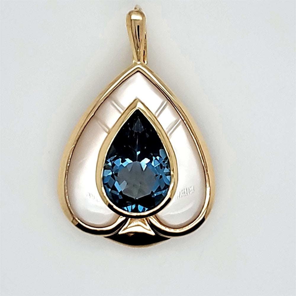 14kt yellow gold mother of pearl and London blue topaz pendant/enhancer