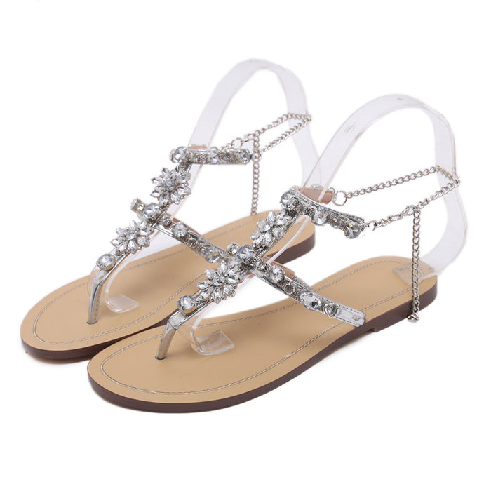 a6ec375c1e7520 2017 Woman Sandals Women Shoes Rhinestones Chains Thong Gladiator Flat  Sandals Crystal Chaussure Plus Size 46