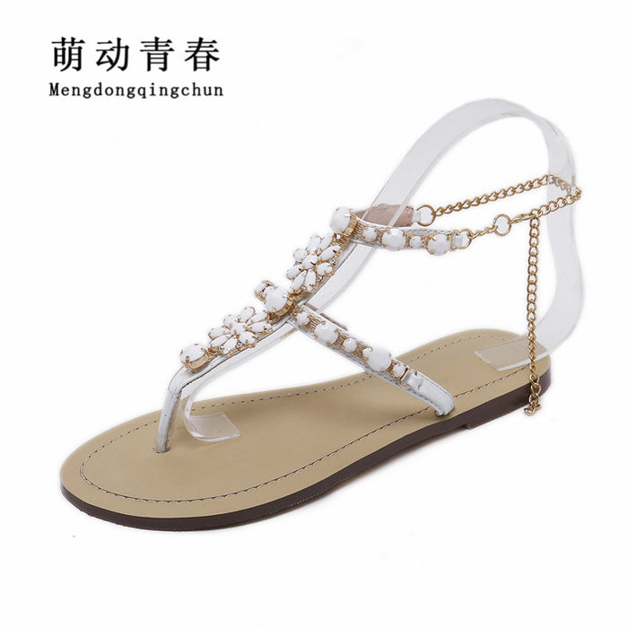 5b6e204066531a 2017 Woman Sandals Women Shoes Rhinestones Chains Thong Gladiator Flat  Sandals Crystal Chaussure Plus Size 46