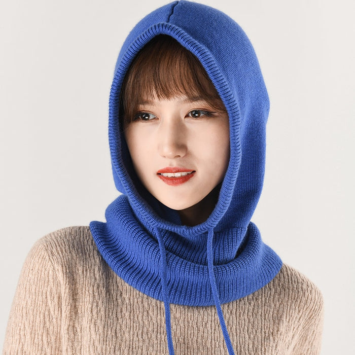 2018 Women s Rabbit Cashmere Wool Knitting Soft Hood Hat Scarf Elegant Hats  Beanies Winter Neck Warm 09362988788