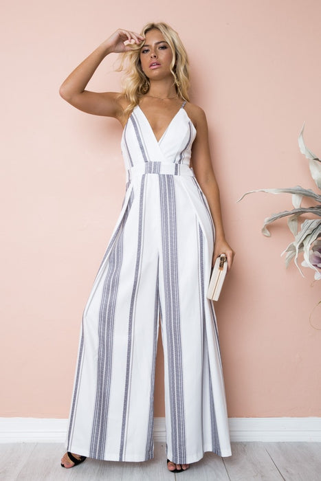 3eb542a29180 Back bow Backless jumpsuit women long romper summer loose trousers pants  striped sleeveless bodysuit beach playsuit
