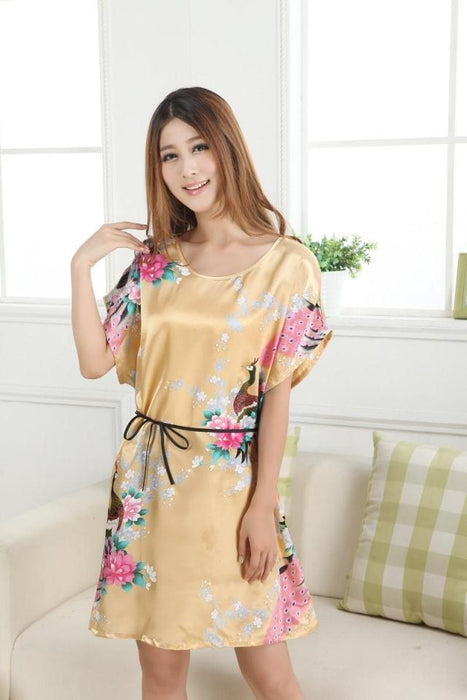e8e2a8c63a9 Brand New Chinese Women Robe Satin Nightgown Sexy Nightshirt Sleepwear  Print Bath Gown Summer Casual Home