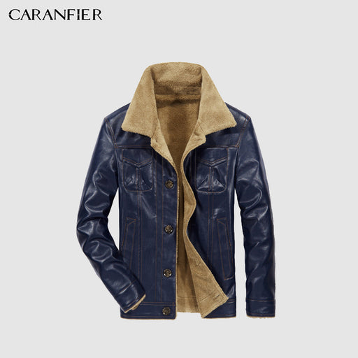 973a935f95b CARANFEIR Mens Leather Jackets Men Jacket PU Business Casual Plus Thick  Warm Wide-Collared Winter