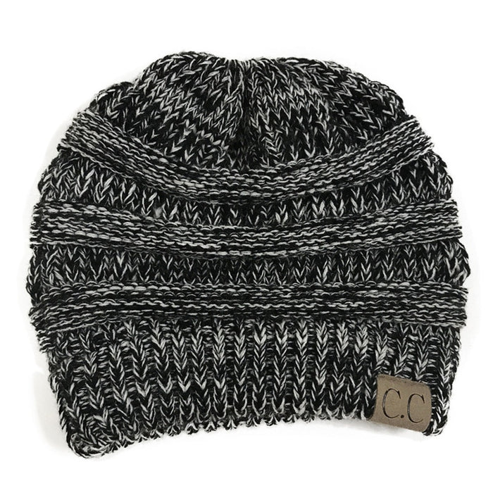 e835dd37f2a84 CC Ponytail Beanie Winter Hats For Women Crochet Knit Cap Skullies Beanies  Warm Caps Female Knitted