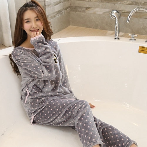 c21f9e4e6f8c Cartoon Panda and Letter Pajama Sets Sleepwear Women Winter Flannel Plus  Size Full Length Warm Party