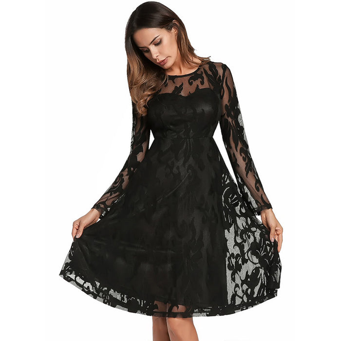 See Through Lace Dress Women Chic Spring Summer Party Long Sleeve Mini Dresses  Floral Layered Mesh 4b998228488e