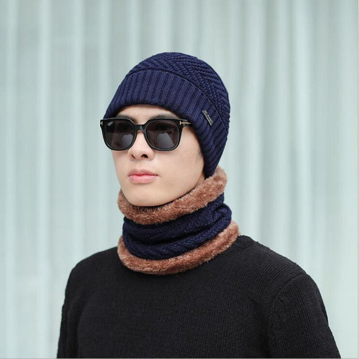 d2e93503420 ski cap and scarf cold warm leather winter hat for women men oZyc hot  selling 2pcs