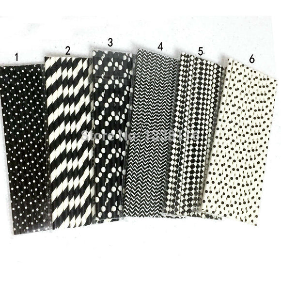 25pcs Black Paper Straws