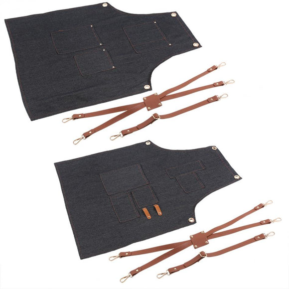 Denim Apron  Leather Strap