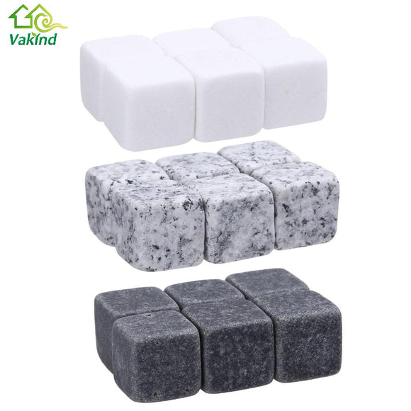 6Pcs Natural Whiskey Stones Rock Ice Stoneer