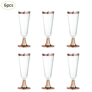 6pcs/set Disposable Plastic Red Wine