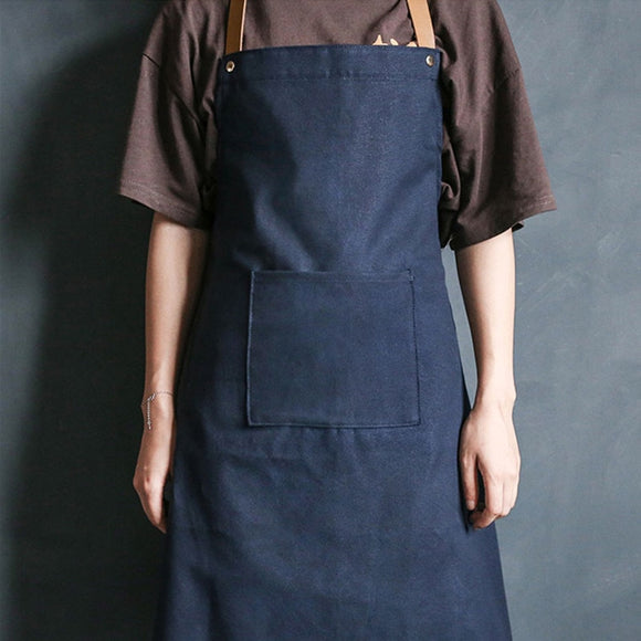 Blue Canvas Apron Leather