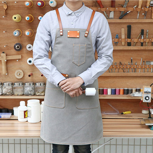 Blue Gray Canvas Bib Apron