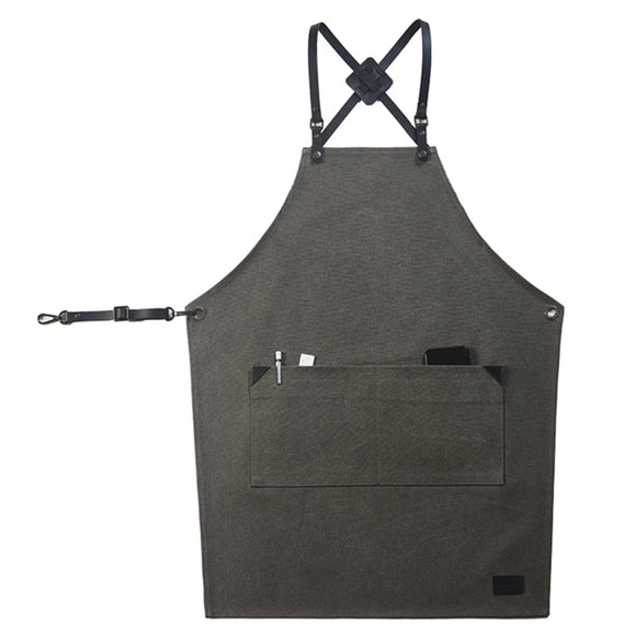 Black Gray Canvas Apron Leather Strap