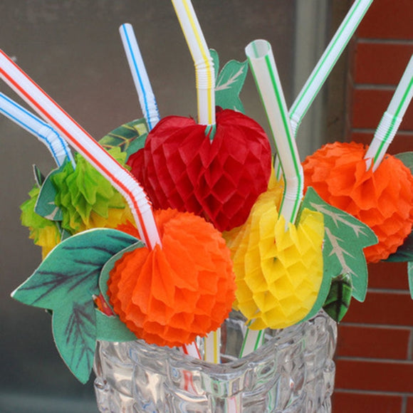 50PCS Fruit Cocktail Paper Straws Umbrella