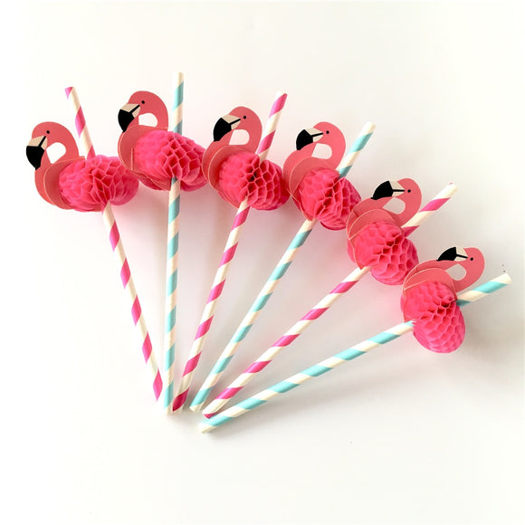 Paper Straws 50Pcs/set Flamingo