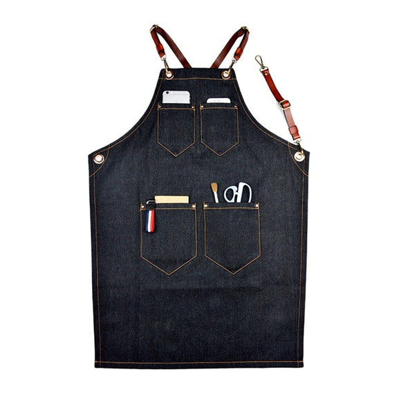 Denim Bib Apron Leather Strap