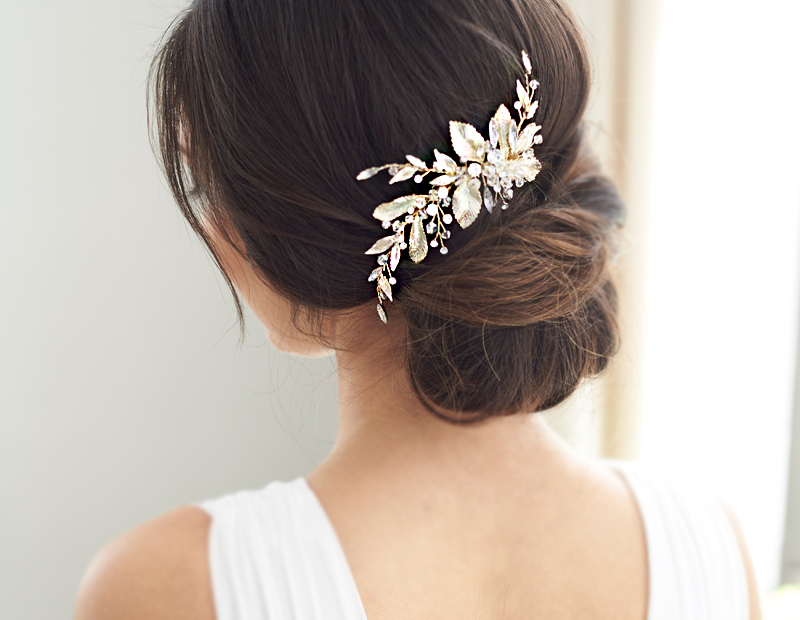 Gold Floral Wedding Hair Piece