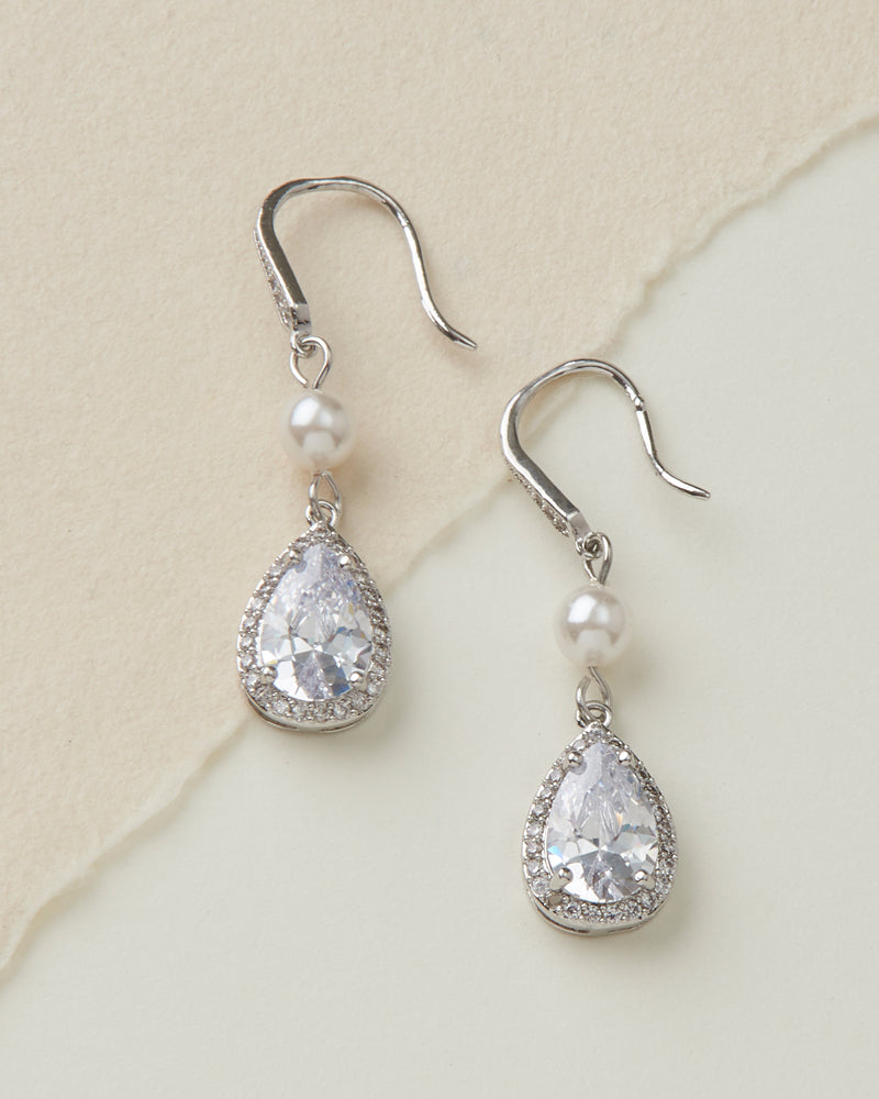 Pearl & CZ Bridal Earrings