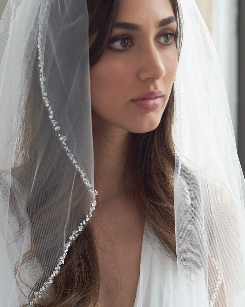 Crystal Beaded Bridal Veil