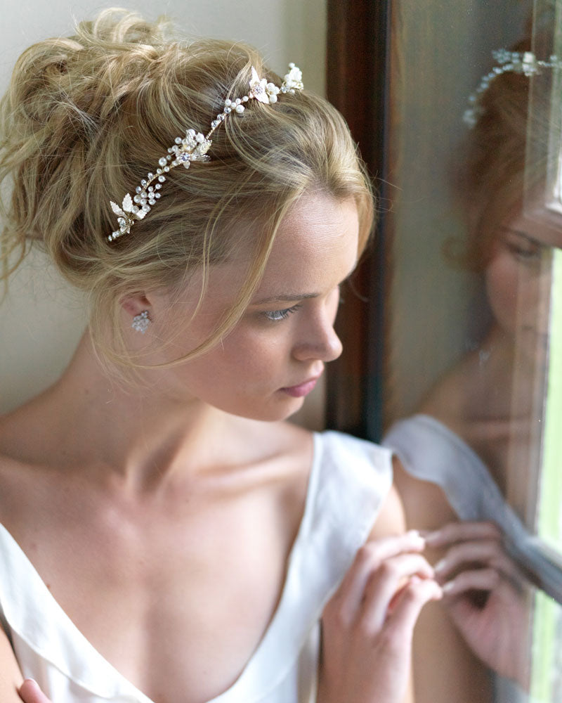 Gold Pearl Bridal Hair Piece