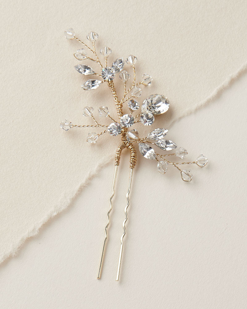 Gold Crystal Wedding Hair Pin