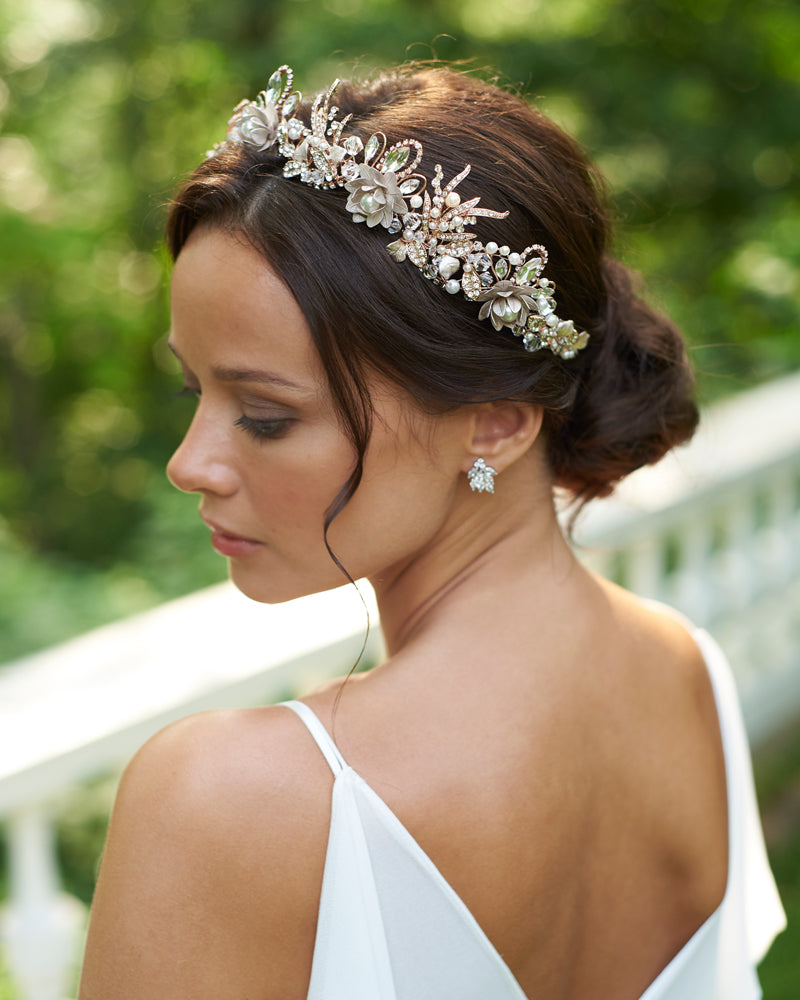 Wedding Flowers Crown For Fine Hairstyle: Thea Floral Crown - Shop Bridal Tiaras & Crowns