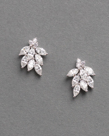 Floral CZ Pear Drop Earrings
